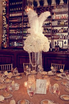 Feather Wedding Centerpieces A Very Gatsby Table Centerpiece Dont You Think
