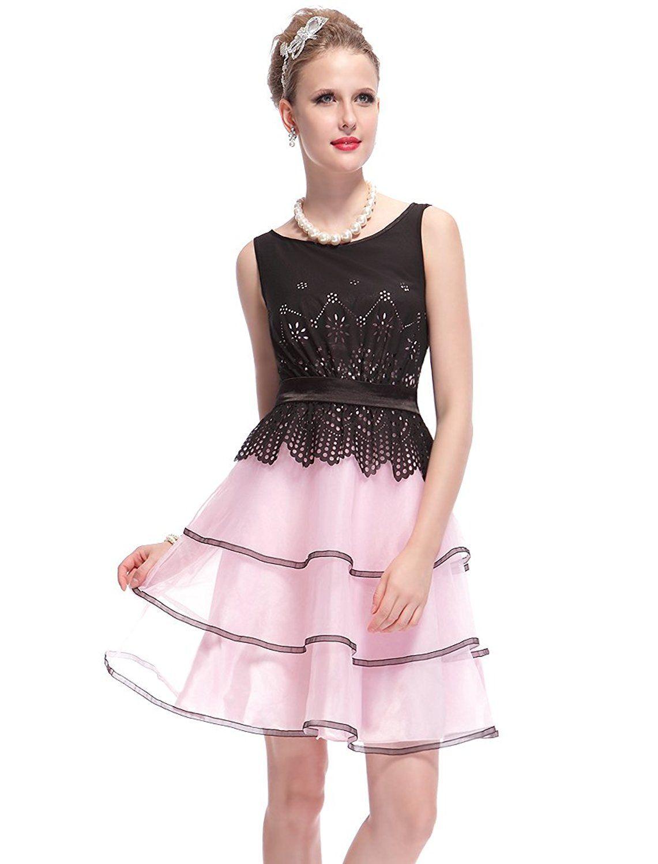 Ever pretty sleeveless short black pink layered juniors party dress