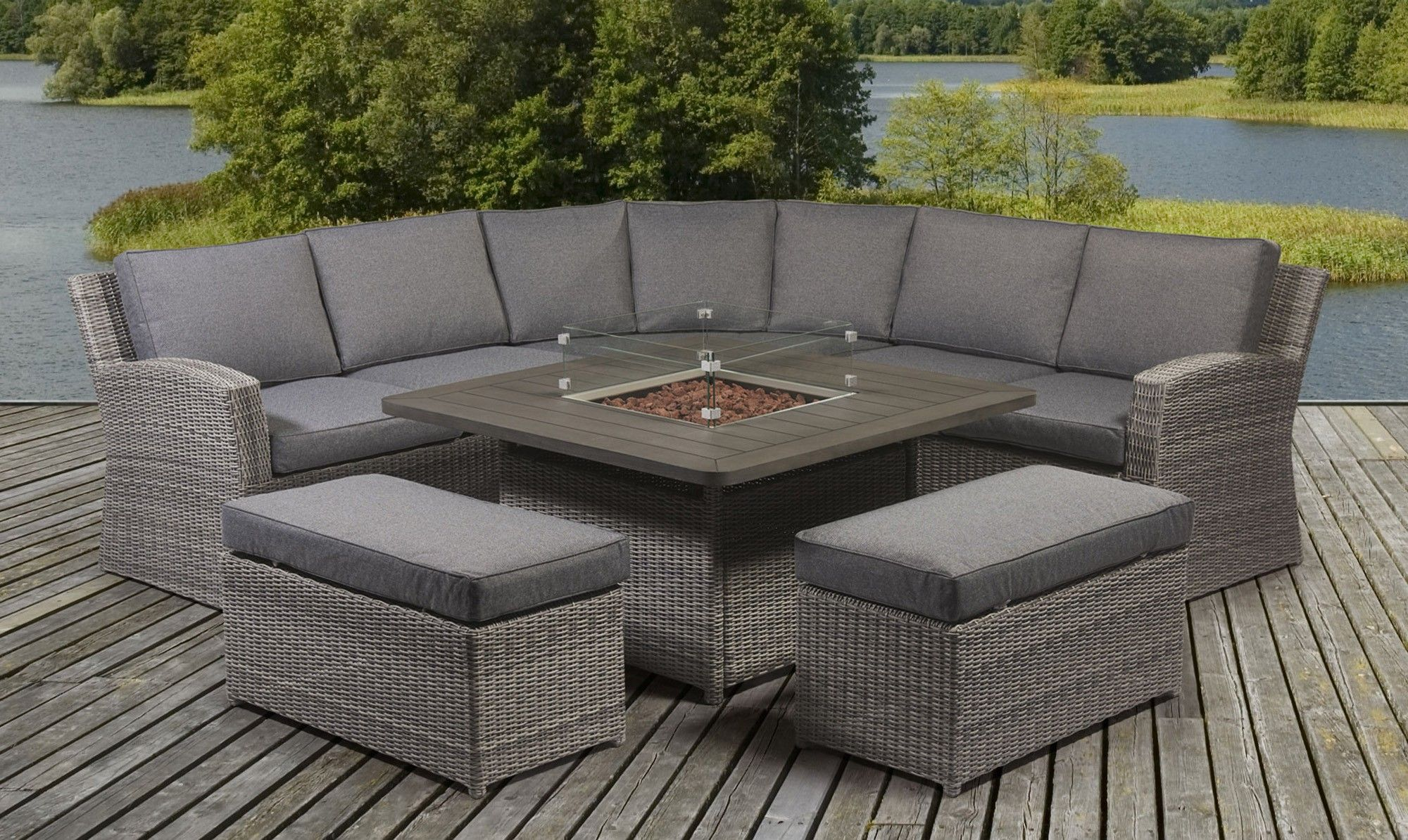 Rattan Corner Garden Sofa Dining Table Set