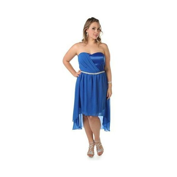plus size strapless chiffon short prom dress with high low skirt ($73) via Polyvore