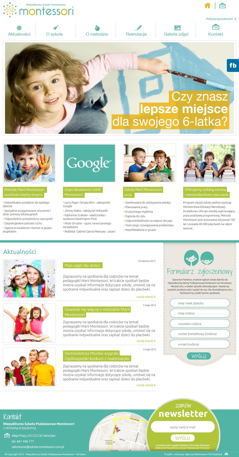 Website for montessori school design www pinkelephant pl web design