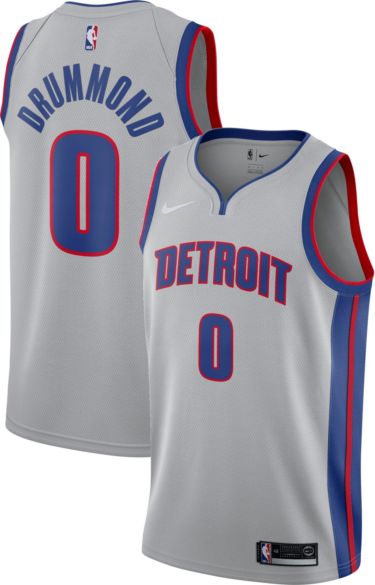 e76acf6f9c3 Nike Men s Detroit Pistons Andre Drummond  0 Grey Statement Dri-FIT Swingman  Jersey