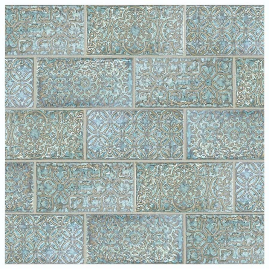 SomerTile 4.375x8.75-inch Caravaggio Esmeralda Ceramic Wall Tile (26 ...