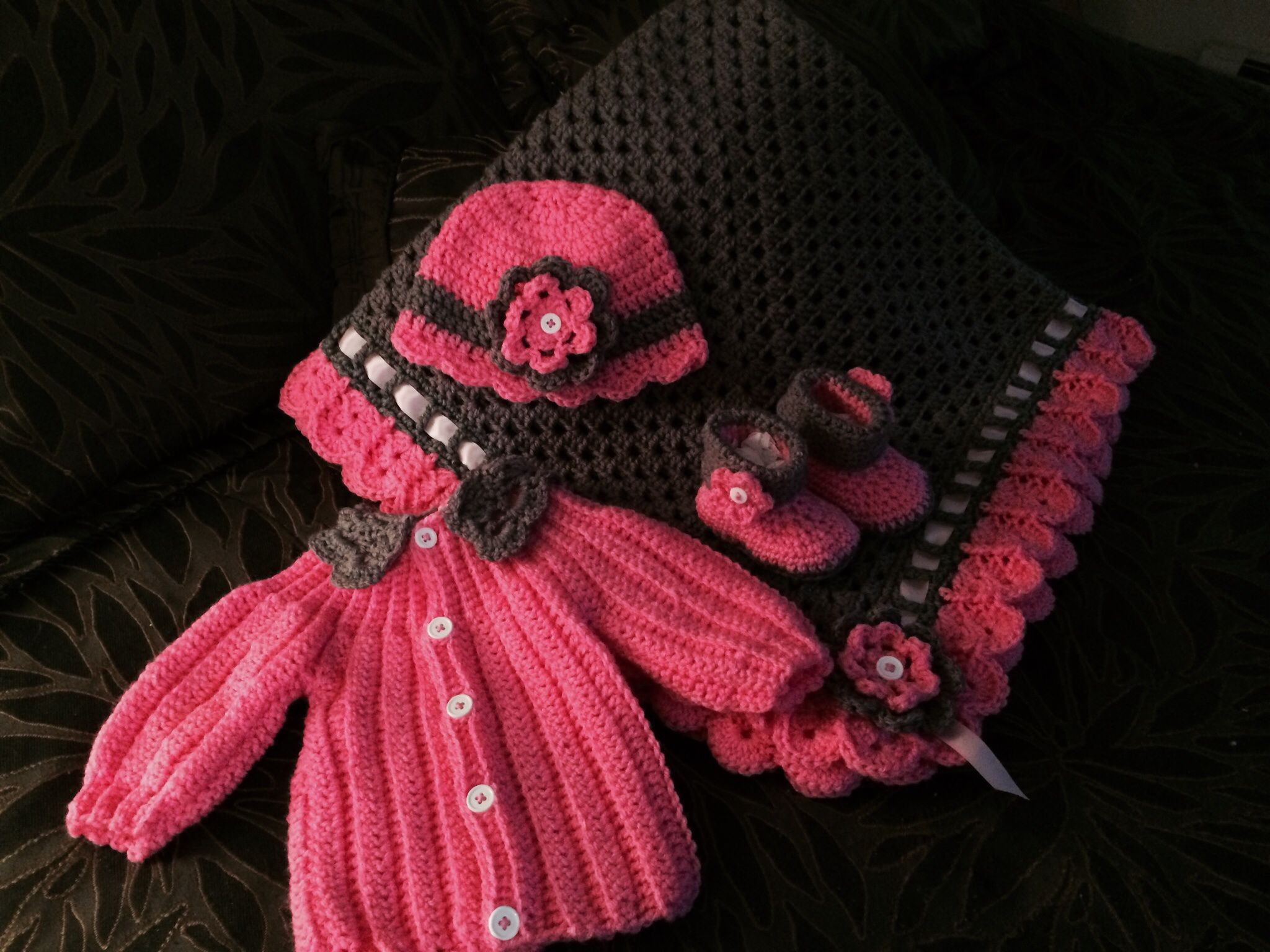 Granny Square and Ribbon Baby Blanket Set - Mad Hooker Crochet ...