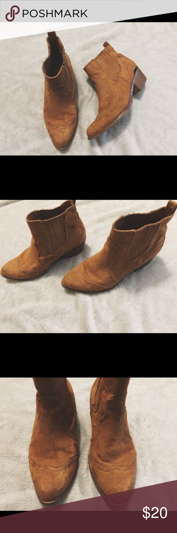 Faux suede ankle boots Super comfortable and cute, faux suede ankle boots. Look so cute paired with skinny jeans or a cute wrap dress! Merona Shoes Ankle Boots & Booties #skinnyjeansandankleboots