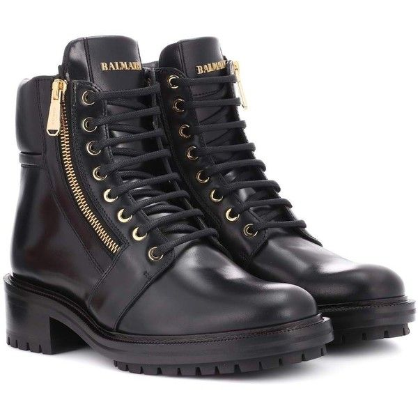 719e6dee1cd Balmain Army Ranger Leather Boots (86,480 INR) ❤ liked on Polyvore  featuring shoes, boots, black, balmain shoes, kohl shoes, black shoes,  genuine leather ...