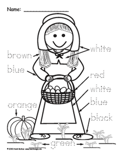 Pilgrim Boy and Girl Color Word Worksheets- Free Download