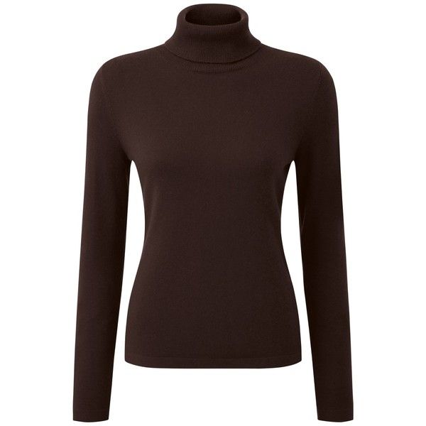Pure Collection Maria Roll Neck Jumper, Chocolate ($145) ❤ liked ...