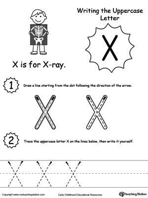 Writing Uppercase Letter X   Worksheets, Activities and Child