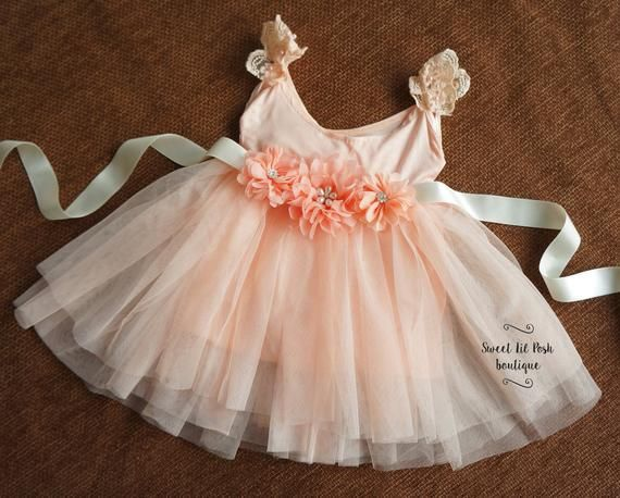 New Lace dress sash toddler boutique outfit ruffle girl cute photo prop party