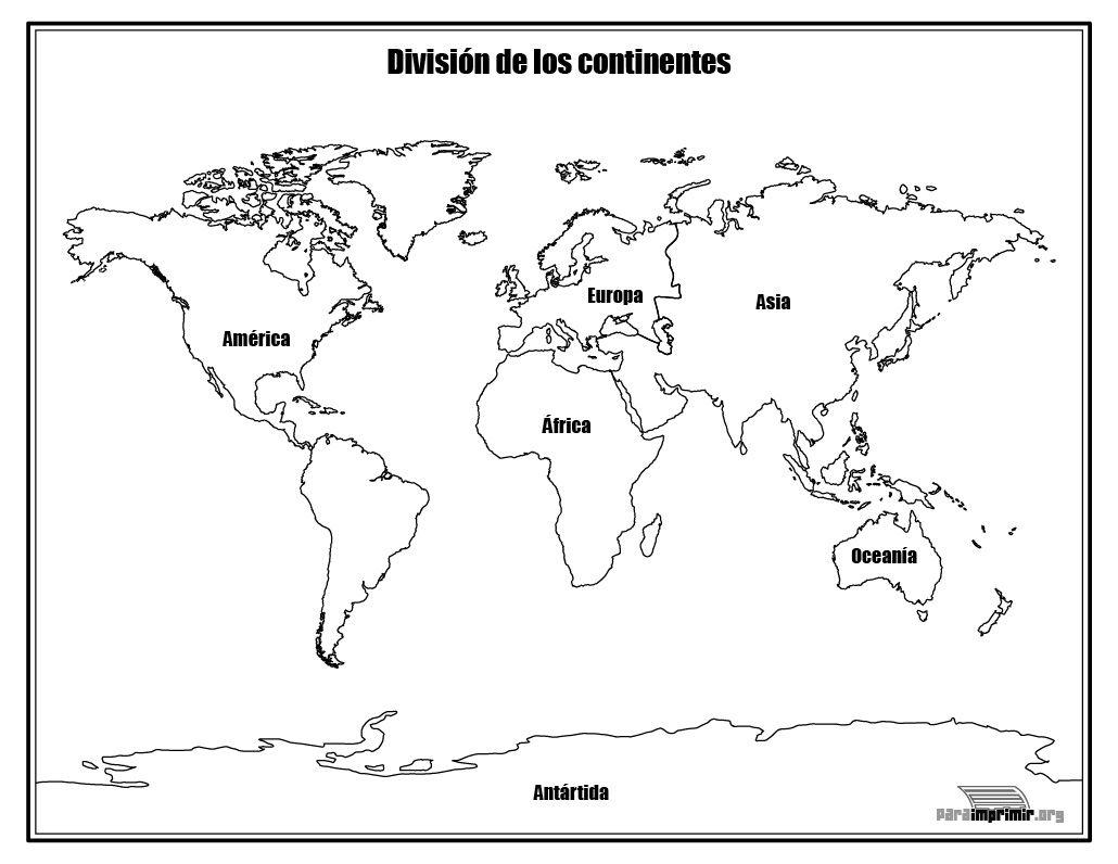 Continentes Del Mundo Para Colorear