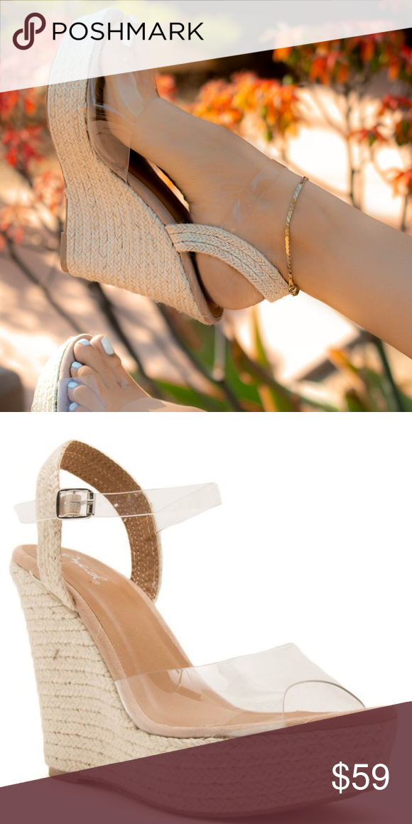 b5addfeda Give Me Sun - Clear Ankle Strap Wedge Sandals Jute wrapped wedge Clear pvc  upper Ankle