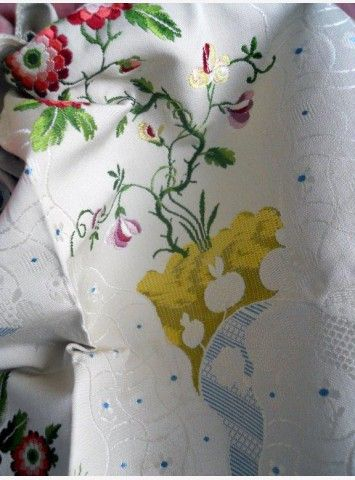 Silk fabric jacquard from France, french antique textiles