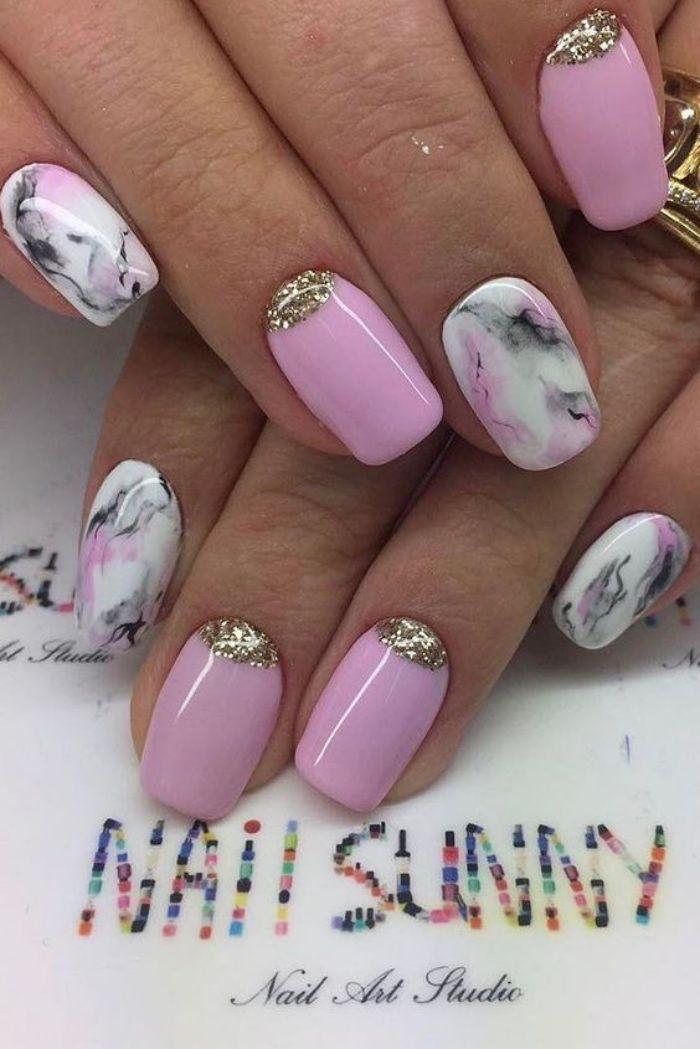 diseño de uñas, tonos suaves, pasteles, rosa, decoración con brocado ...