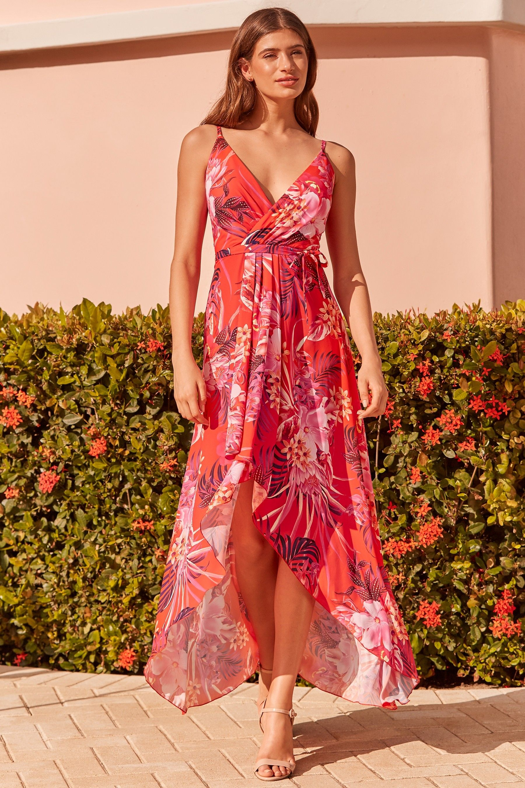8cf63cea552022 Womens Lipsy Tigerlily Printed Ruffle Maxi Dress - Red in 2019 ...