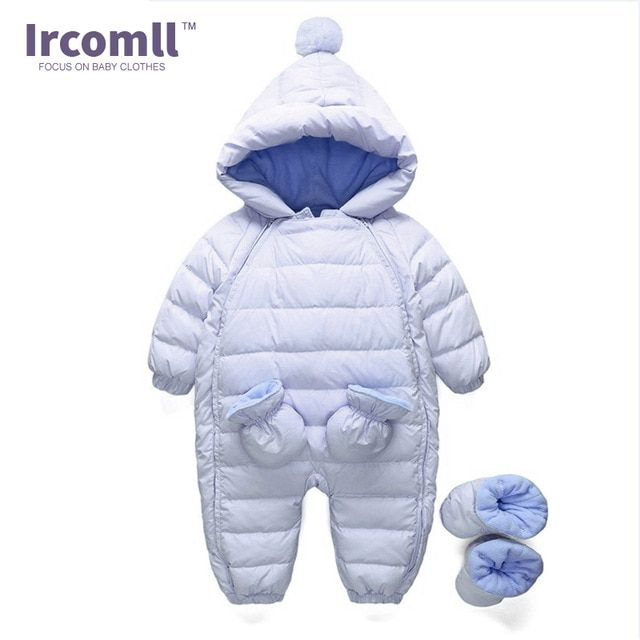 8eb2593398ae 2017 Baby Winter Clothing Warm Hooded 90% Duck Down Baby Romper Newborn Baby  Boy Girl Jumpsuits Children Snowsuit Down Clothes