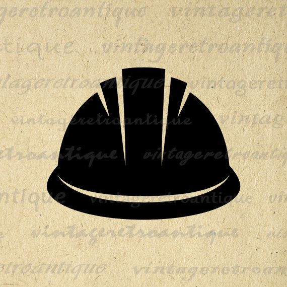 Hard Hat Graphic Digital Printable Construction Icon Image Download Antique Clip Art for Transfers Making Prints etc HQ 300dpi No.4332