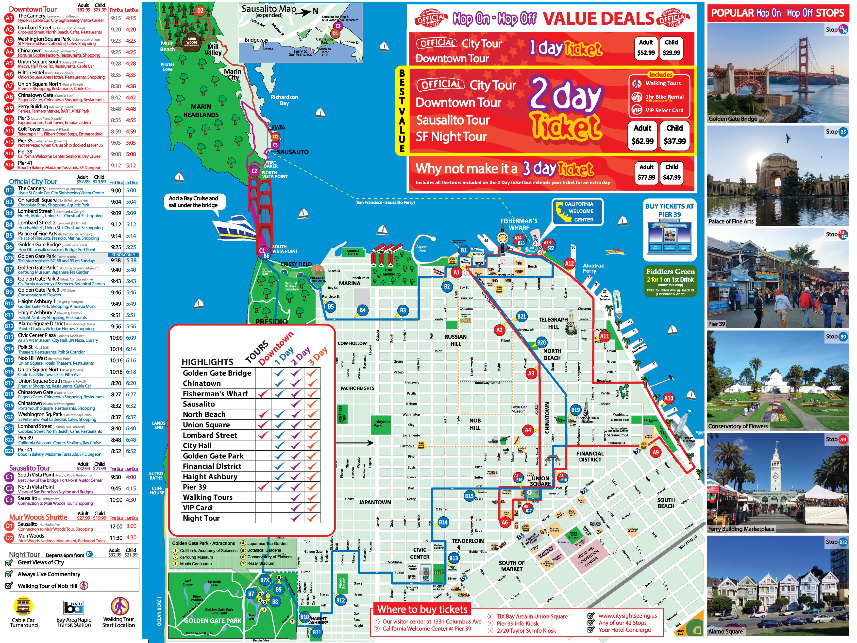 San Francisco Tour Map City Sightseing San Francisco San