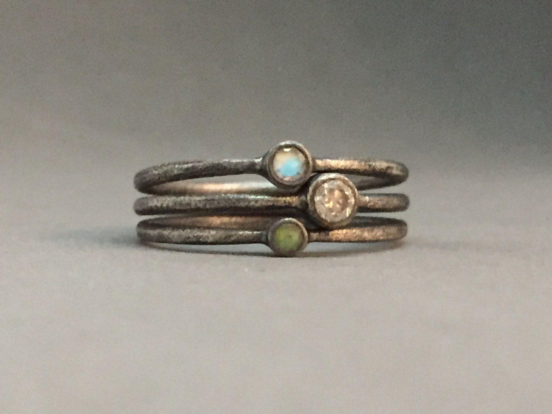 White diamond opal moonstone wedding ring engagement ring birthstone