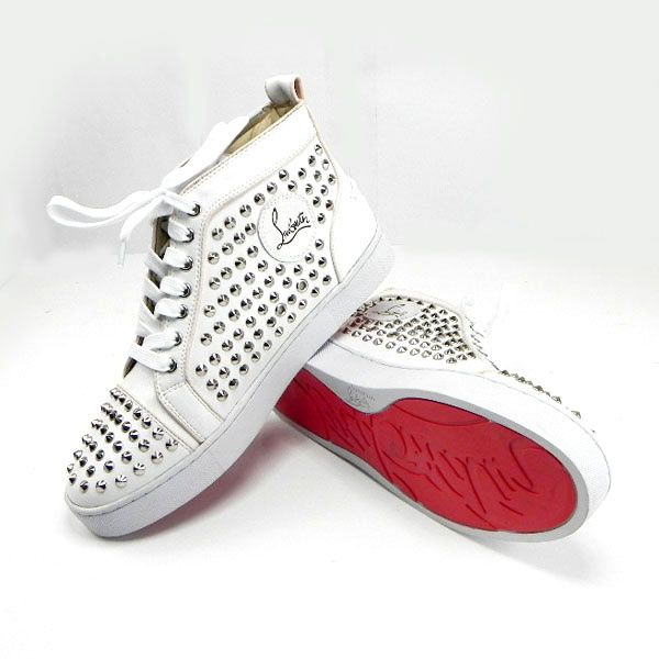 60c5865d2504 Christian Louboutin Mens Louis Studded Sneakers White