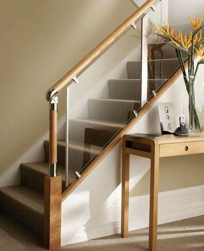 Indoor Railing / In Wood / Glass / For Stairs FUSION