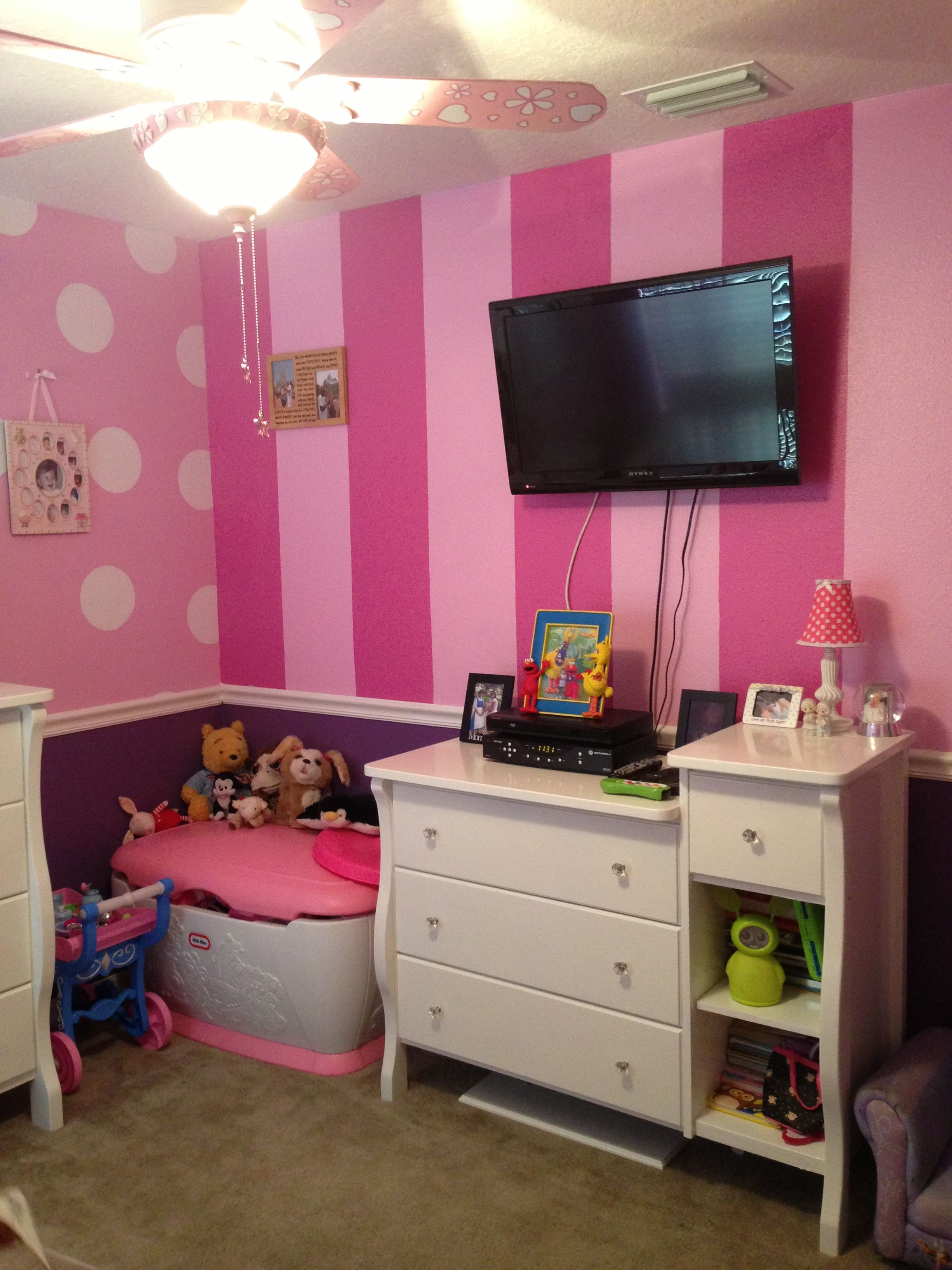 Other striped wall in Minnie room this is what I want to do but
