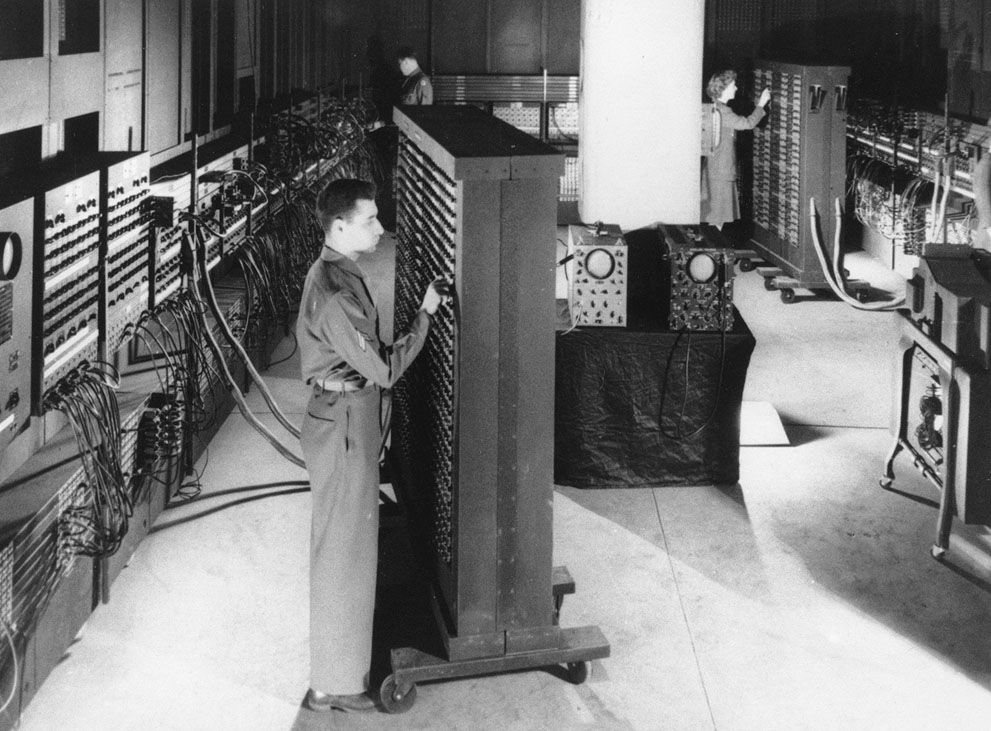 30 This 1946 photograph shows ENIAC (Electronic Numerical Integrator And Computer), the first general purpose electronic computer - a 30-ton machine housed at the University of Pennsylvania. Developed in secret starting in 1943, ENIAC was designed to calculate artillery firing tables for the United States Army's Ballistic Research Laboratory. The completed machine was announced to the public on February 14, 1946. The inventors of ENIAC promoted the spread of the new technologies through a…