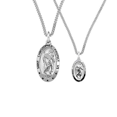 Oval Sterling Silver St Christopher Pendant with 18