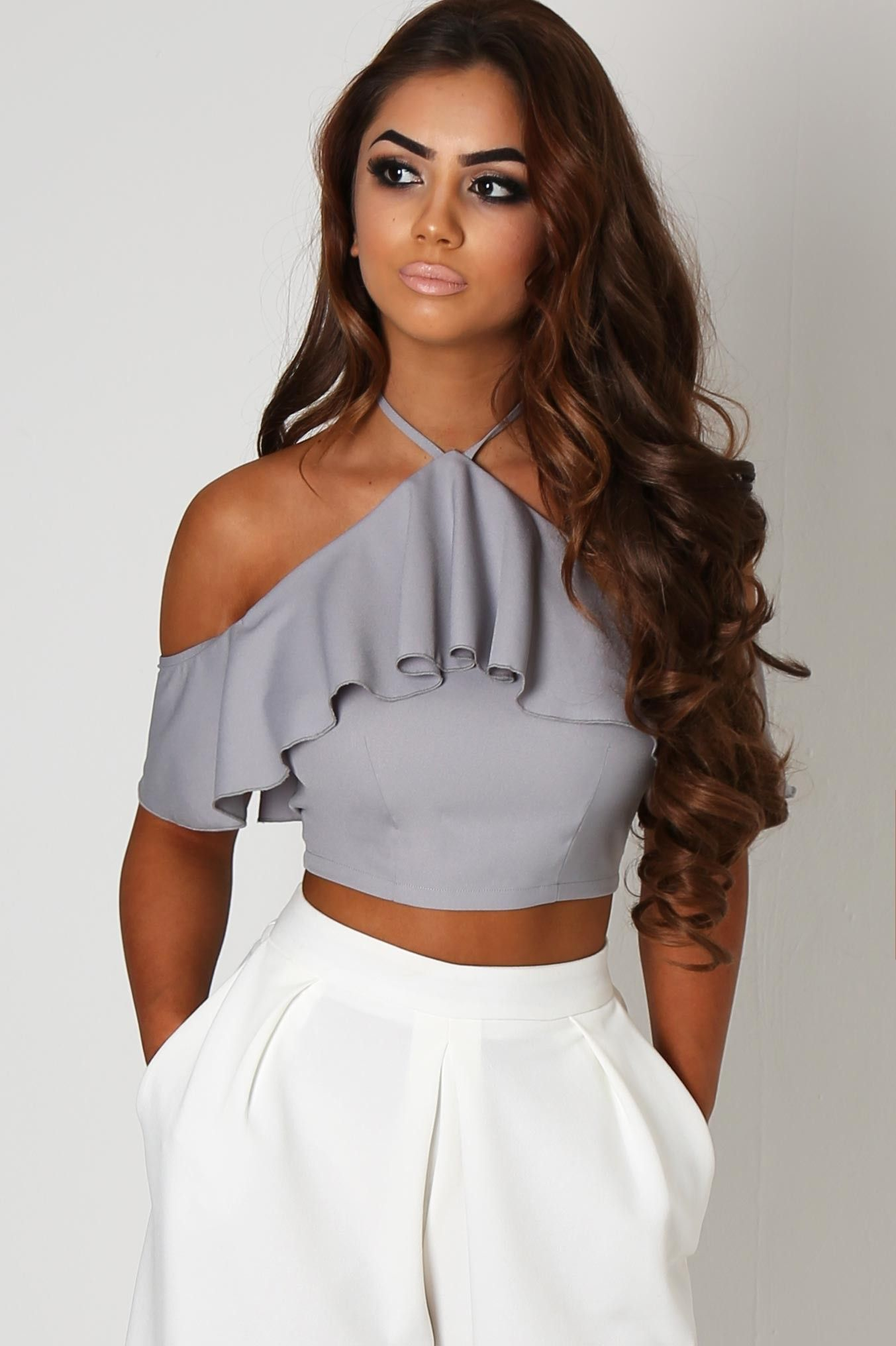 59abf931ce0 Look gorgeous in grey in this amazing crop top! Featuring frill detail and  in a bardot style, this grey top will look gorge dressed up with culottes  or ...