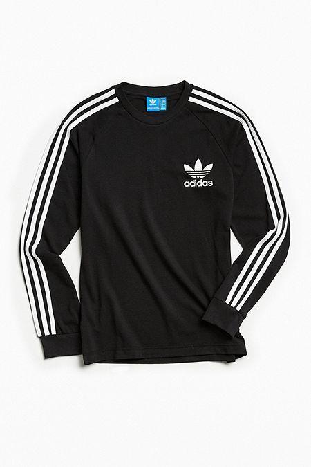adidas Originals 3 Stripes Long Sleeve T Shirt Red