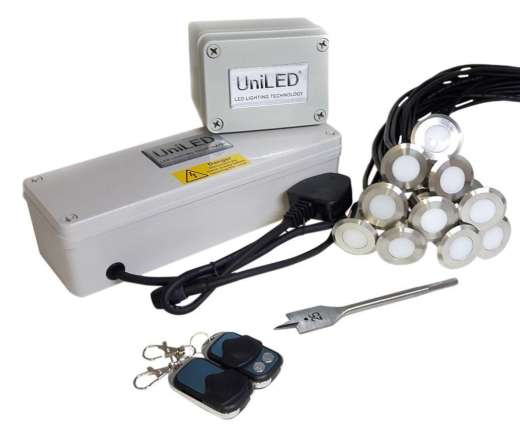 UniLED 10 Deck Light Pack with 18 W Power Supply And Remote, Steel ...