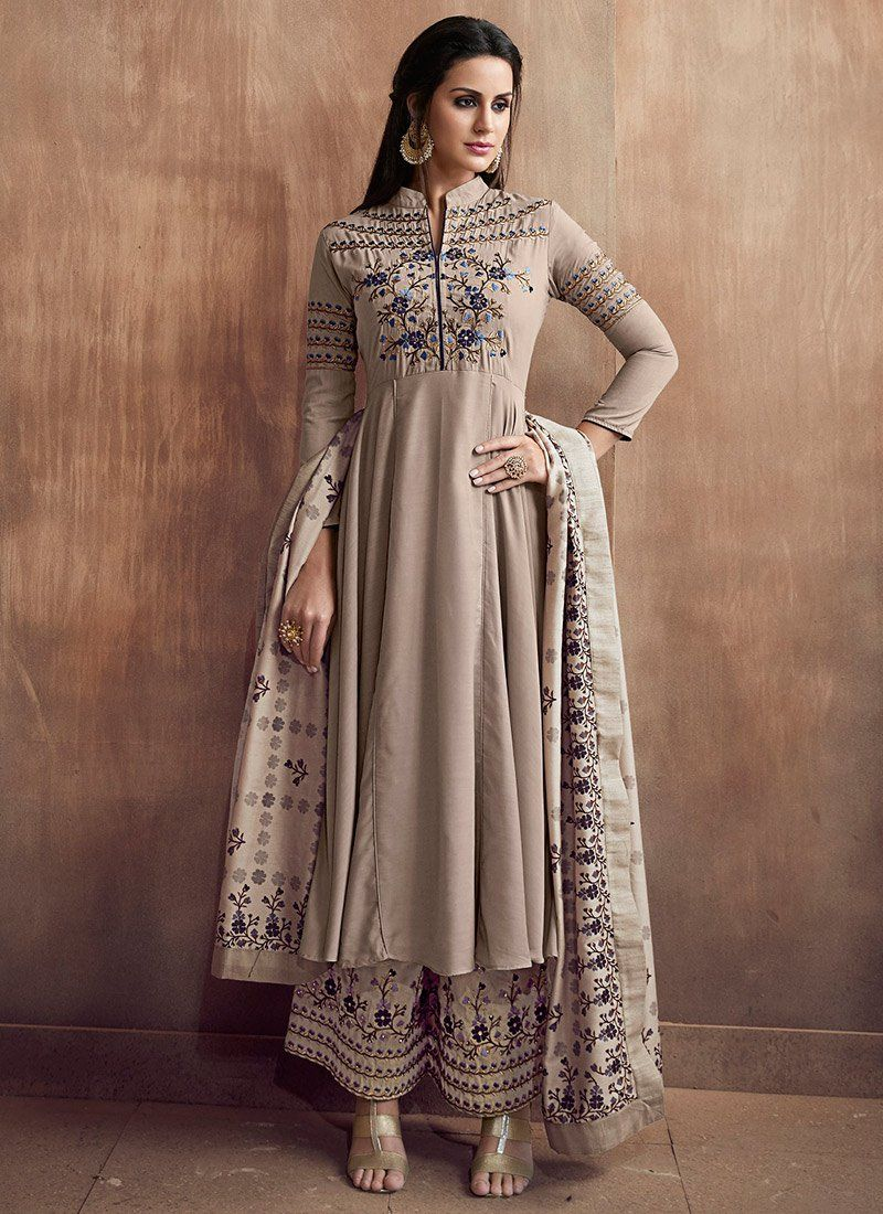 13d8e6b509 Buy Cement Grey Embroidered Palazzo Suit online, SKU Code: SLSCC515. This  Grey color Party palazzo suit for Women comes with Embroidered Art Silk  Cotton.