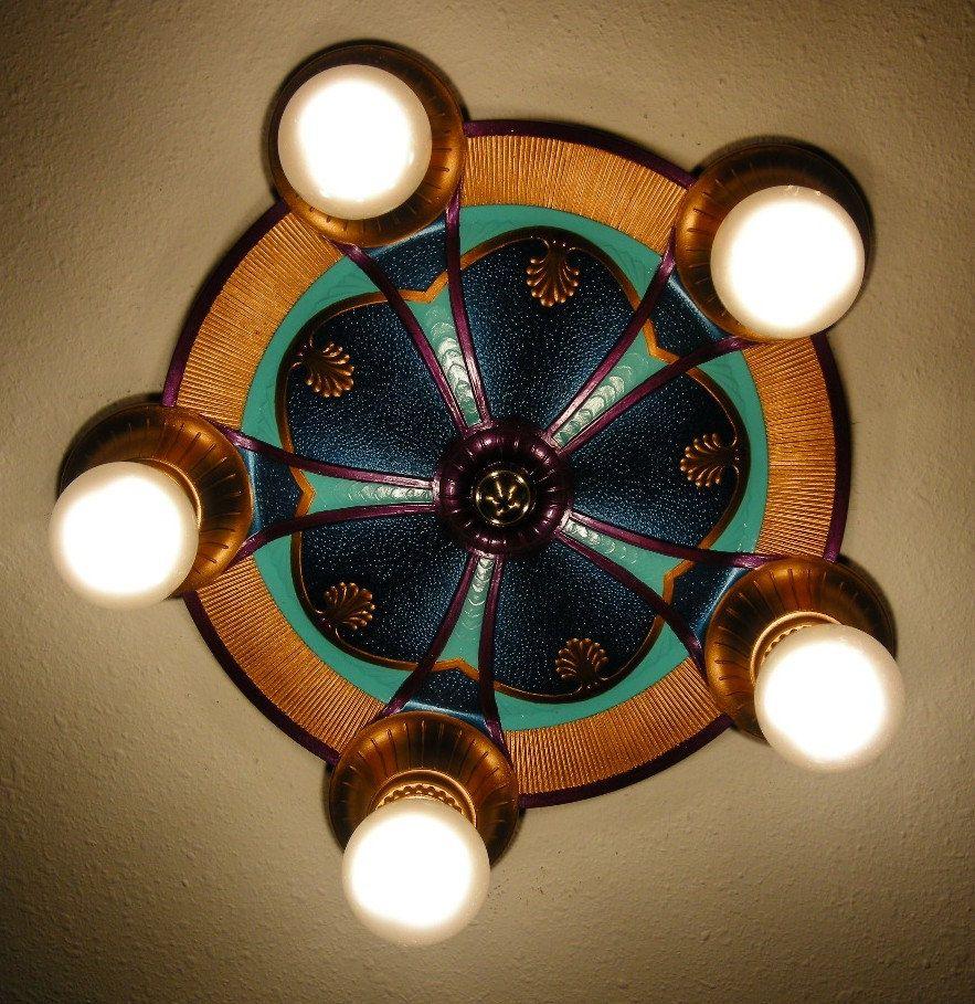 Vintage Art Deco H P Inc Cast Aluminum Ceiling Light Fixture Restored Five Bulb Aluminum Ceiling Vintage Art Deco Ceiling Lights