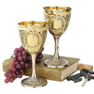 Basil Street Gallery TV698004 The King's Royal Chalice Embossed Brass Goblet