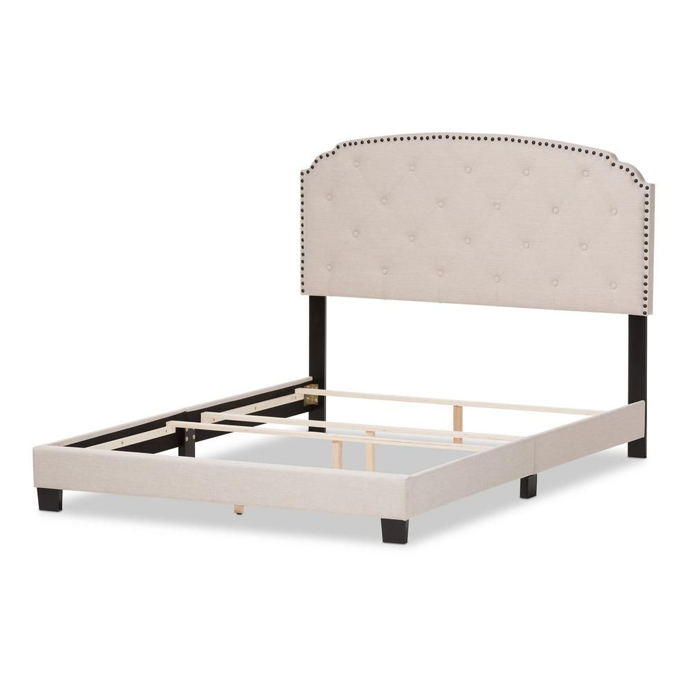 Corliving Fairfield Grey Tufted Fabric Queen Bed With Wings Bbt 360 Q The Home Depot Queen Upholstered Bed Fabric Upholstered Bed King Upholstered Bed