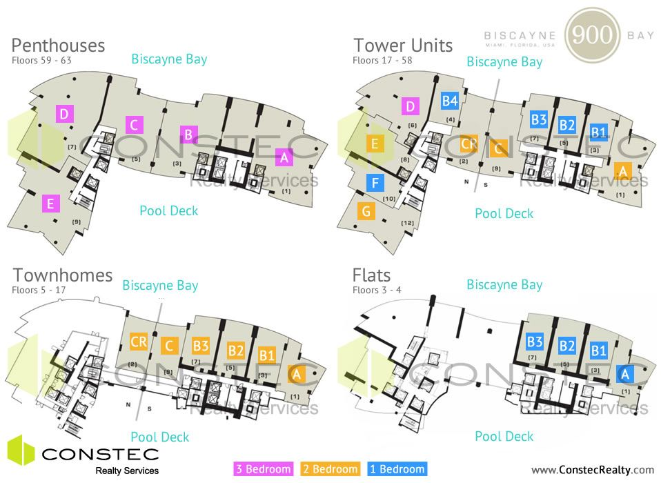 900 Biscayne Bay Site Plan Downtown Miami Floor Plans