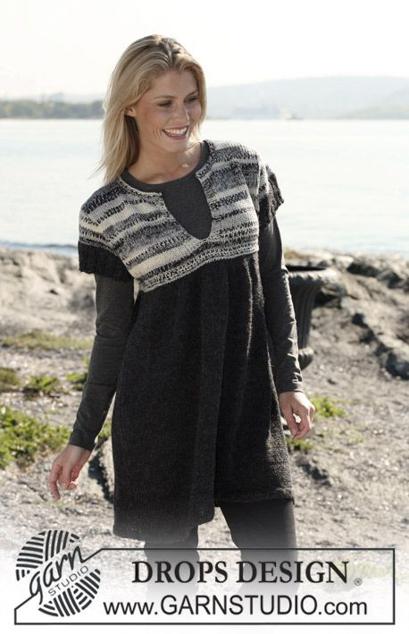 """c6198267ca03e2 DROPS tunic with yoke in """"Big Fabel"""" and skirt in 2 threads """"Alpaca"""". Yoke  may also be knitted in 2 threads """"Fabel"""". Size S - XXXL."""