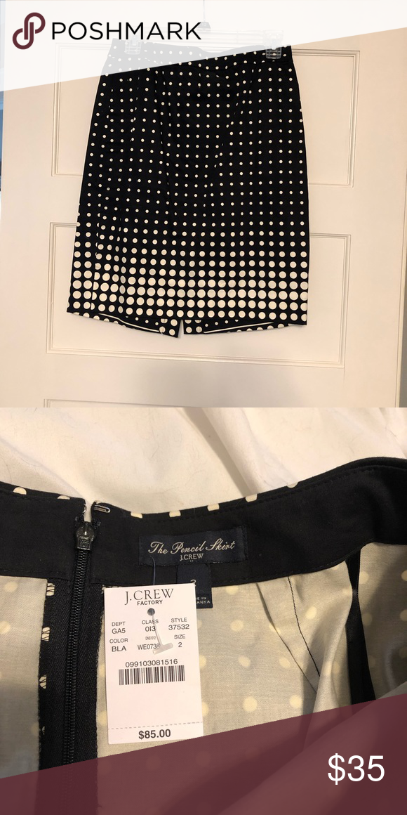 78ff45ea9 JCREW Pencil Skirt Black JCREW Pencil Skirt with white polka dots in a size  2 brand new with tags never worn J. Crew Skirts Pencil