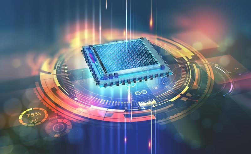 Futuristic Cpu Quantum Processor In The Global Computer Network