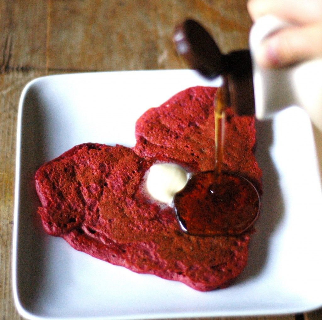 Red heart pancakes - uses beets instead of Red 40