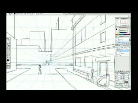 Using A 1pt Perspective Grid To Draw Backgrounds Art Techniques Perspective Art Tutorials