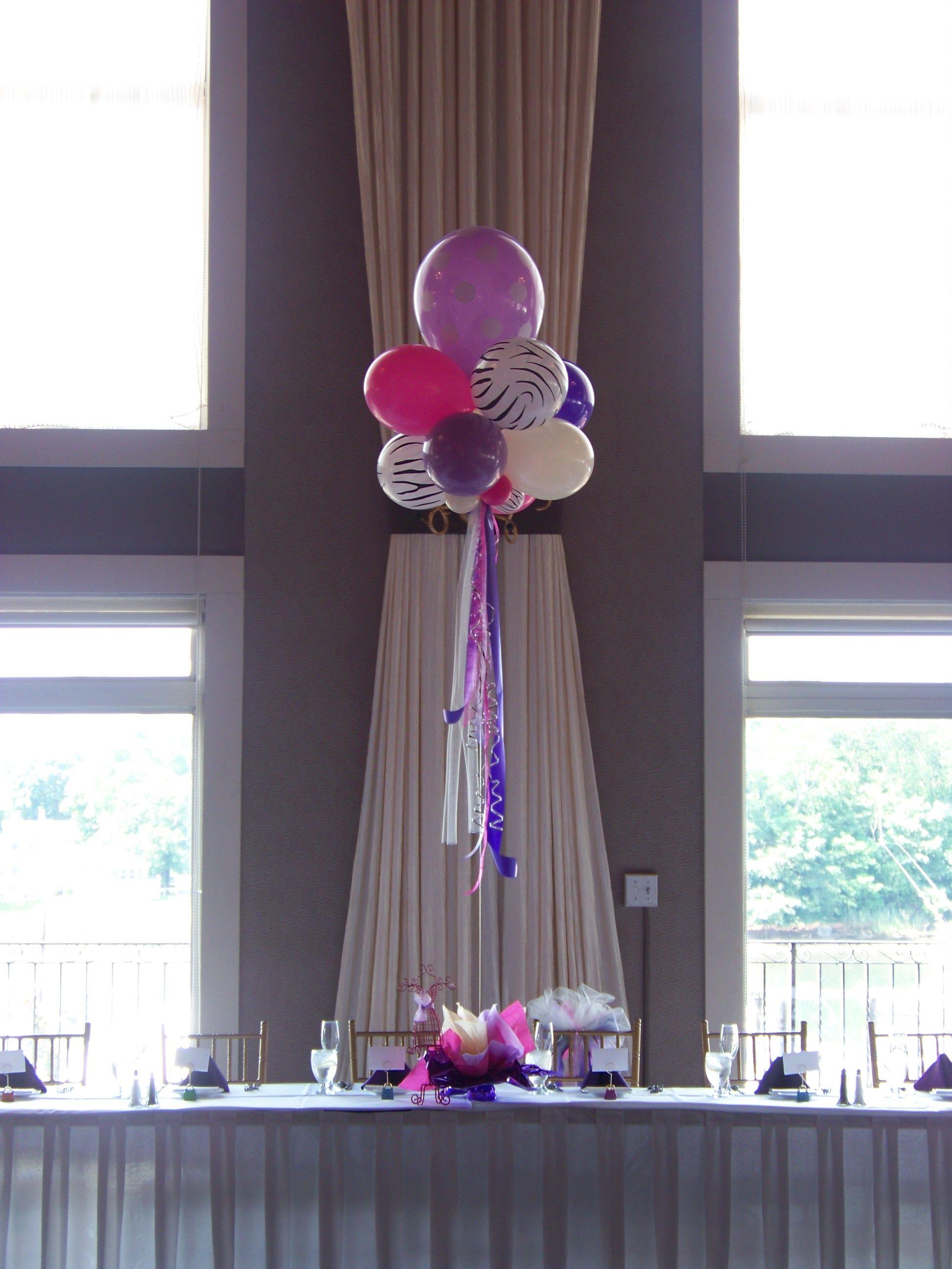 Zebra wedding decorations  Fashionista balloon centerpieces with polka dots u zebra print