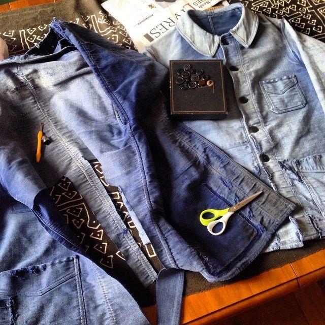 redand51ue:Spare one #frenchantique #moleskinjacket #repair #frenchworkwear #frenchchore #workshop #chorejacket #faded #frenchjacket #french...