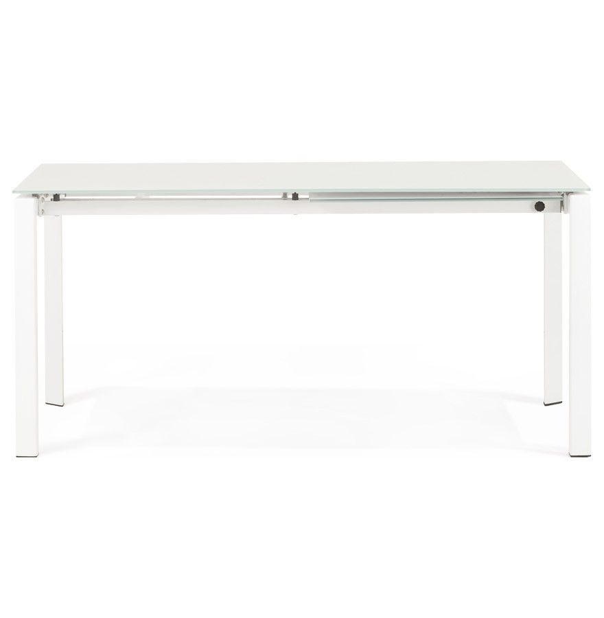Table De Salle Manger Extensible Moderne Angel En Verre Blanc  # Table Tv D'Angle En Verre Design Transparent