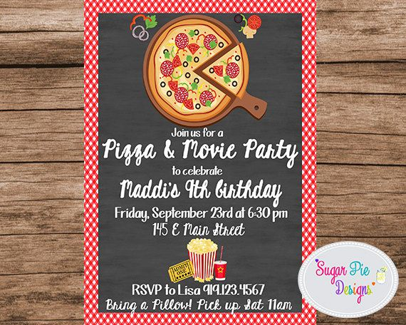 Pizza and movie party invitation pizza party pizza movie night pizza party invitation pizza party invite pizza movie night pizza stopboris Image collections