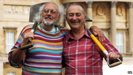 Prof Aston (left) with Sir Tony Robinson, the presenter of the show in which a team of experts travels the country to investigate archaeological sites  Mick Aston, a former resident academic on Channel 4's Time Team, has died at the age of 66.