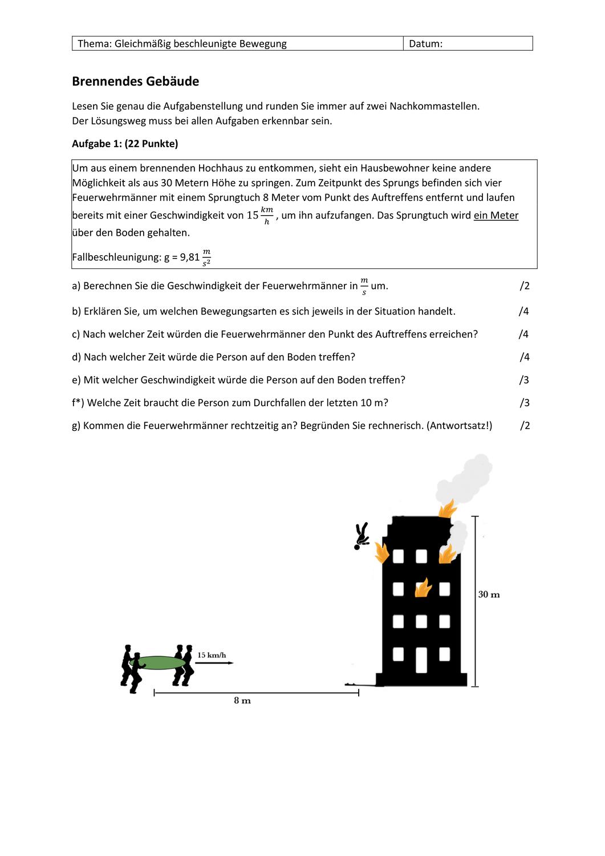 Brennendes Gebaude Gleichmassig Beschleunigte Bewegung Unterrichtsmaterial Im Fach Physik Bewegung Unterrichtsmaterial Aufgabenstellung