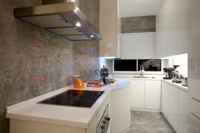 küchenwandgestaltung ideen tafelfarbe grau weiße schränke ... - Küche Wandgestaltung Ideen
