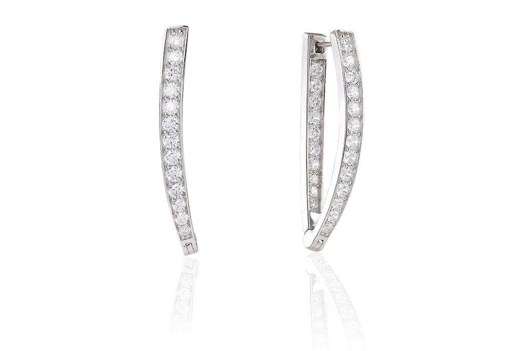 Earrings Pila Due Grande with white zirconia