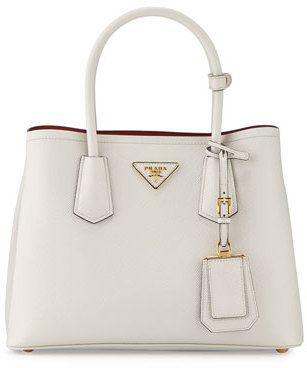 b5d55dbc5e Prada Saffiano Cuir Double Mini Tote Bag, White/Red (Bianco/Rosso ...